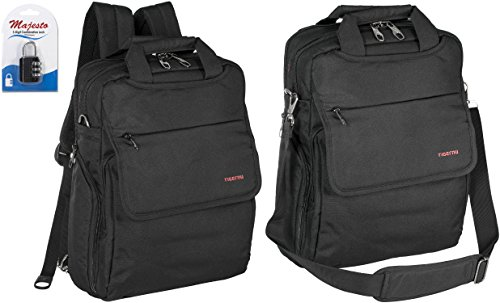 Convertible Laptop Backpack 14 Inch for Men and Women - Slim - Professional - Lightweight - Water Resistant - With Side Bottle Holders - for Business and Travel + Padlock - Bundle - Black (Side Backpack For Women compare prices)