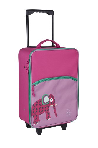 Lassig Sturdy Children's Trolley Rolling Suitcase, Wildlife Elephant - 1