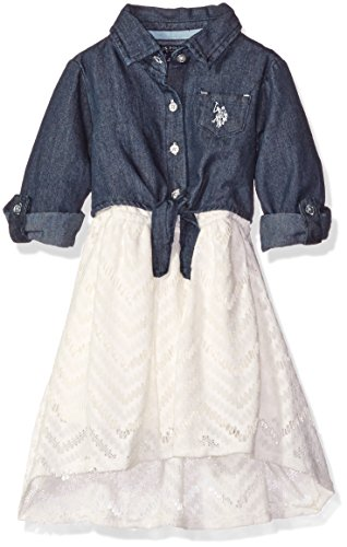 U.S. Polo Assn. Girls' Toddler Girls' Denim and Lace Dress, Vanilla, 4T (Polo Dress Pants compare prices)