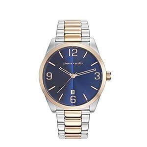 Pierre Cardin Men's Two Tone Steel Bracelet Steel Case Quartz Blue Dial Analog Watch PC107911F06