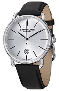 Stuhrling Original Men's 768.01 Classic Ascot Agent Swiss Quartz Date Silver Dial Watch