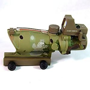 Tactique TA31 ACOG Style Fonctionnel Fibre Optique 4X32 Portée (Rouge Fibre) avec RMR Mini Rouge Point Visée (Multicam MC) pour Militaire Airsoft Chasse Tournage AEG