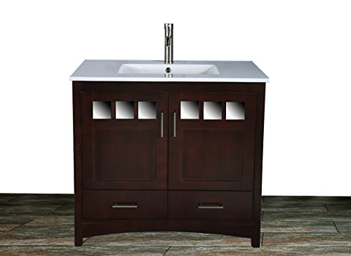 "36"" Bathroom Vanity Cabinet Ceramic Top Sink Faucet TR1"