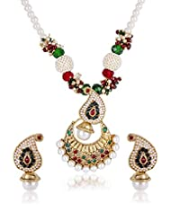 Shinning Diva Red And Green Pendant Set