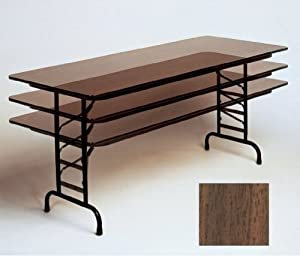 "Adjustable Folding Table (Walnut) (22-32""H x 30""D x 48""W)"