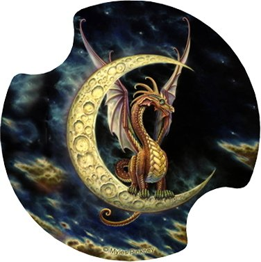 Set of Two Moon Dragon Thirstystone Carster Car Drink Coasters - Style DMW2