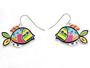 Silvertone Colorful Fish Theme Epoxy Earrings Fashion Jewelry, Designer Style Look, Lead & Nickel Free, Hypo Allergenic