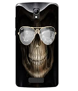 Case Cover Skull Printed Black Soft Back Cover For LYF WIND 3