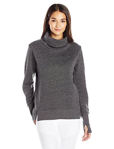 Alo Yoga Women's Haze Long Sleeve Top, Charcoal Heather/Black, M