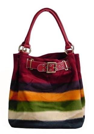 New Women's Red Winter fur-like Inner zip wall pocket Handbag - 1613