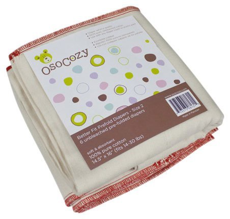 OsoCozy Better Fit Prefold Cloth Diapers - Medium