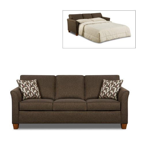 save simmons chenille chocolate fabric queen size sofa sleeper 075720553242. Black Bedroom Furniture Sets. Home Design Ideas