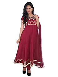 Diva Fusion Womens Cotton Anarkali Semi-Stitched Dress Material (Dfa166 _Maroon)