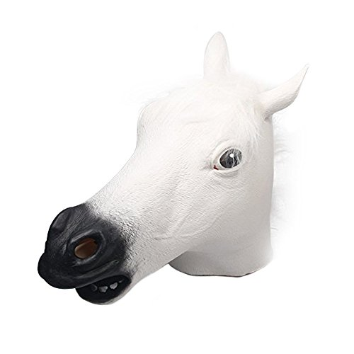 [Signstek Horror Scary White Horse Head Mask for Halloween Cosplay Costume Party] (Monkey See Monkey Do Costume)