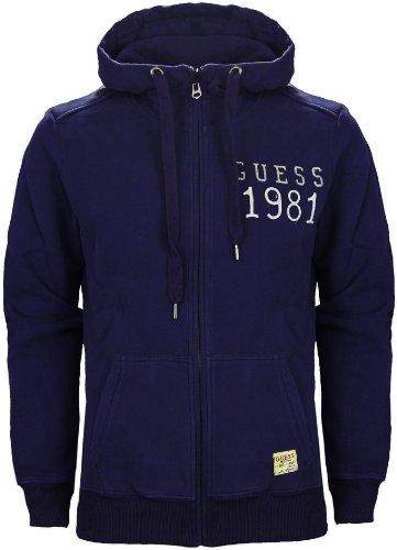 Guess Men's 1981 Zip Front Hoodie Real Indigo Blue (L)