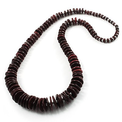 Long Dark Brown Button Wooden Bead Necklace