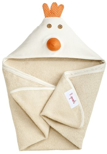 3 Sprouts Hooded Towel, Chicken, Cream