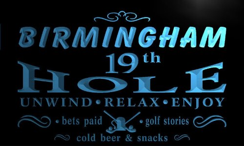 Pi2147-B Birmingham 19Th Golf Hole Bar Beer Neon Light Sign