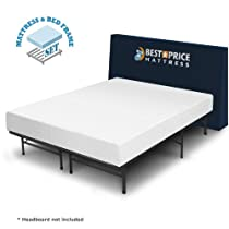 "Hot Sale Luxtouch 8"" Comfort Premium Memory Foam Mattress and Frame Set - No box spring needed (King)"