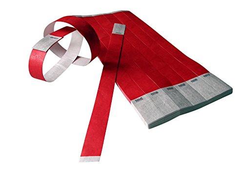 ID-ACC - Braccialetto di controllo accesso, in Tyvek, 19 x 225 mm, 100 pezzi, colore: Rosso