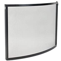 Pilgrim 18256 Home and Hearth Odessa Bowed Fireplace Screen, Black and Polished Nickel by Pilgrim Home and Hearth