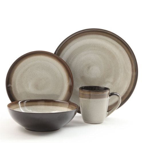 Gibson Couture Bands 16-Piece Dinnerware Set, Brown and Cream (Cream Dinnerware Set compare prices)