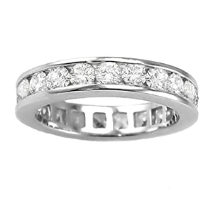 2.70 CT TW Channel Set Round Diamond Eternity Wedding Band in 18K White Gold - Size 5