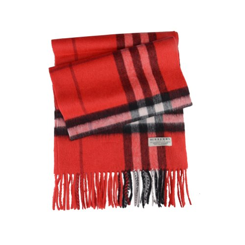 Burberry  Burberry London Red Wool Cashmere Giant Check Fringed Scarf