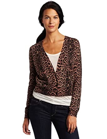 BCBGMAXAZRIA Women's Roz French Leopard Cardigan, Camel Combo, Large