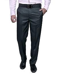 Routeen Men's Maruti Blue Slim Fit Formal Trouser