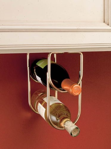 Hardware Distributors RS3250BR Wine Bottle Under Cabinet Organizer Wall Accessories - Brass