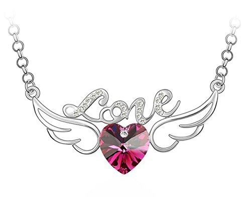 "White Gold Plated Hollow Style Letter Love Angel Wings Heart Swarovski Crystal Elements 25"" Long Chain Pendant Necklace Fashion Jewelry For Women (Ruby Red)"