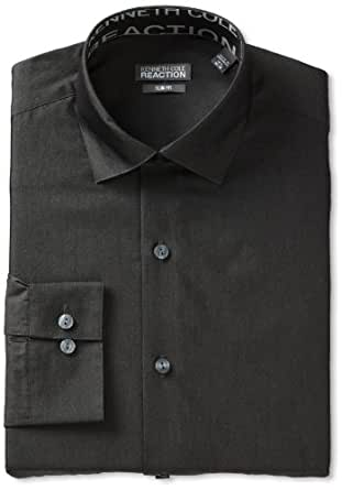 Kenneth Cole Reaction Men's Slim Fit Chambray Dress Shirt, Charcoal, 15.5 32-33