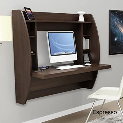 Espresso Floating Desk With Storage. This Office Desk Furniture Is A Space Saving Solution For Any Home. Each Home Office Desk Is Easy To Mount And Features Ample Storage Space. Add This Modern Home Office Furniture To Your Workspace Today. (Espresso)