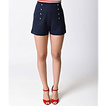 Banned Nautical Navy High Waist Stay Awhile Stretch Sailor Shorts
