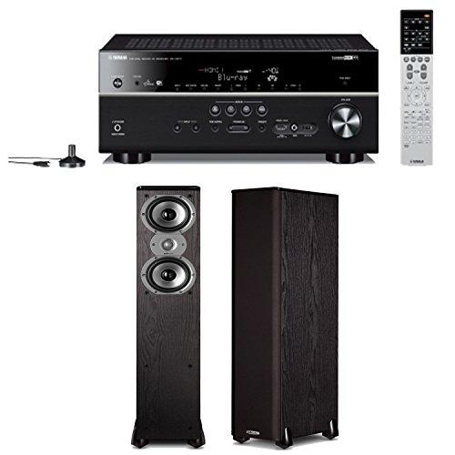 Yamaha Rx-V677 7.2-Channel Wi-Fi Network Av Receiver Plus A Pair Of Polk Audio Tsi 300 Floorstanding Speakers