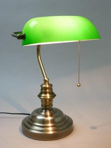 Tischleuchte-Bankers-Lamp-mit-Zugschalter-Bankerslamp-Gestell-antik-messing-Schirm-grn-Schreibtischlampe