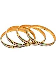 Handicraft Kottage Gold Metal Bangle Set For Women - Set Of 4 (HK-ABGM-3204)