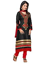 Manvaa Black And Red Embroidered Suit With Semi-Cotton Fabric