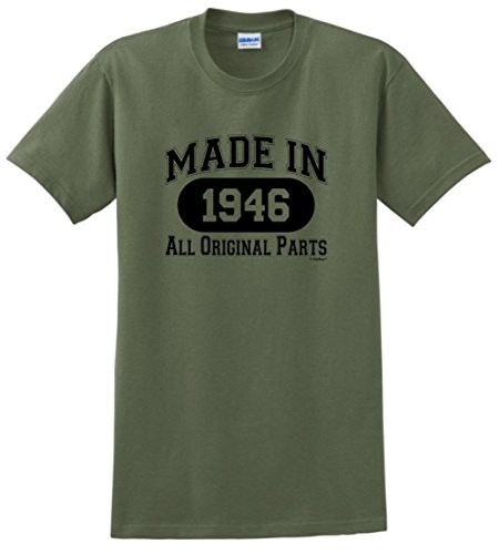 70th Birthday Gifts for Dad 70th Birthday Gift Made 1946 All Original Parts T-Shirt Large Military Green