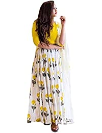 Clickedia Women's Art Silk Yellow & White Semi Stitched Anarkali - Dress Material