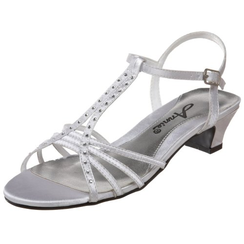 Annie Shoes Women'S Enrica Evening Sandal,Silver Satin,9.5 M Us front-718109