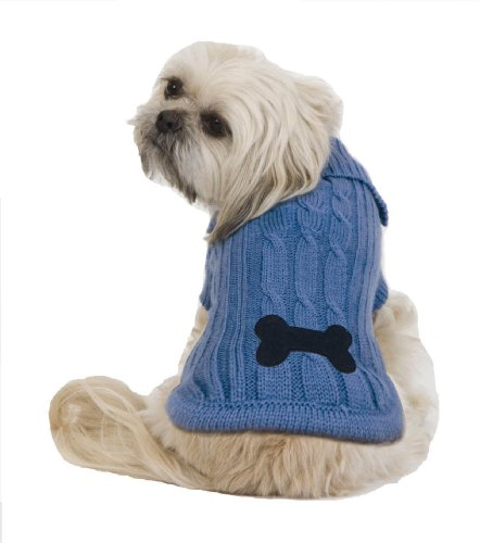 Fashion Pet Bone Patch Medium Cable Dog Sweater,