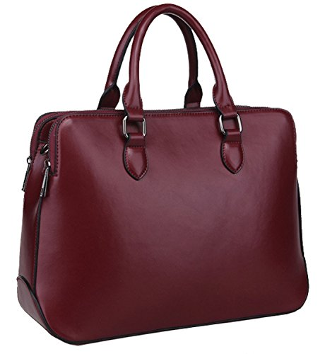 Heshe 2014 New Genuine Leather Double Zippered Tote Cross Body Shoulder Bag Handbag for Women (Wine)