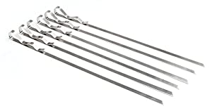 """Steven Raichlen Best of Barbecue Signature Stainless Steel Grilling Kabob Skewers (Set of 6) / 17"""" by 3/8"""" - SR8025"""