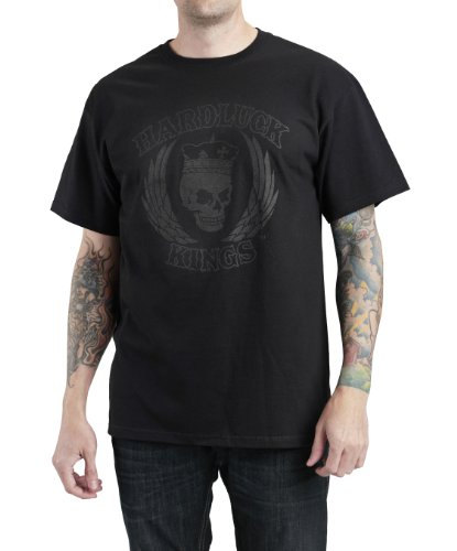 HardLuck Kings TBLBLK1-XXL Men's Double Down Short Sleeve Tee
