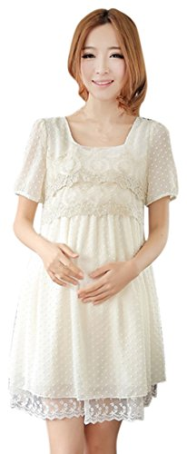 Am Clothes Womens Casual Maternity Dress Medium White front-547581