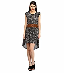 Snoby Black Printed Stacker Dress (SBY_6003)