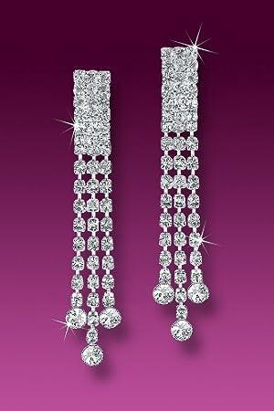 Clip on Clip on Rhinestone Dangle Earrings 3 Strand Multi Row Movie Star Glamour