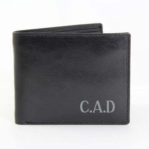 Personalized Black Leather Wallet - Mens, Gifts for Him, Christmas, Birthday, Anniversary, Thanksgiving